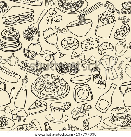 Big food mix seamless pattern - stock vector