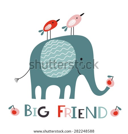 Big friend. Elephant and two little birds.  Vector illustration on white background. Cartoon set