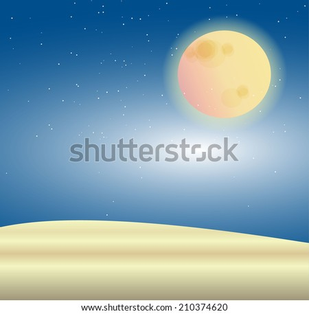 Big full moon and star with sand at night time - stock vector
