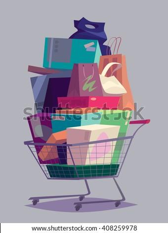 Big full shopping cart. Vector illustration. - stock vector