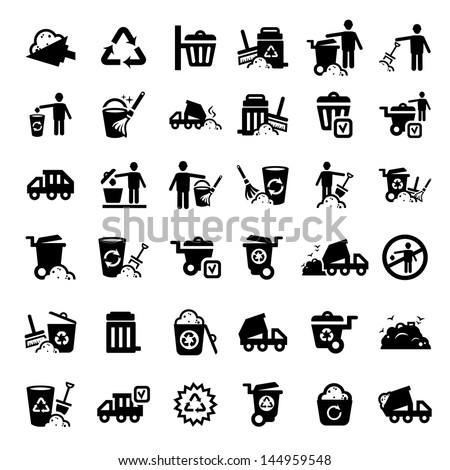 Big Garbage And Cleaning Icons Set Created For Mobile, Web And Applications. - stock vector