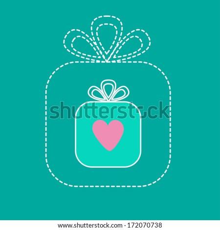 Big gift box and small gift box inside. Dash line. Flat design. Vector illustration. - stock vector