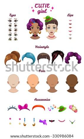 Big girl stylish kit, vector girl characters avatars constructor - stock vector