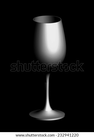 big glass on a black background