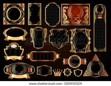 Big gold frames set - stock vector
