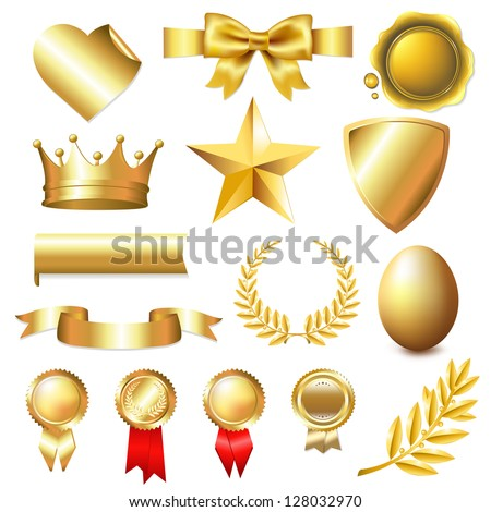 Big Golden Collection, Isolated On White Background - stock vector