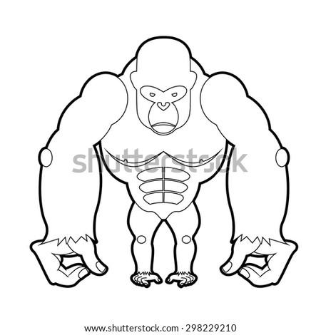 big gorilla coloring book vector illustration of african animal - Silverback Gorilla Coloring Pages