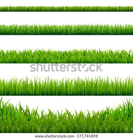 Big Grass Borders Set, Vector Illustration - stock vector