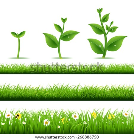 Big Grass Set With Plants With Gradient Mesh, Vector Illustration - stock vector