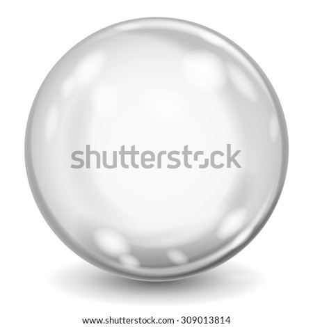 Big gray opaque glass sphere with glares and shadow on white background