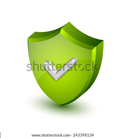 Big green and glossy security shield with white check mark on white background - stock vector