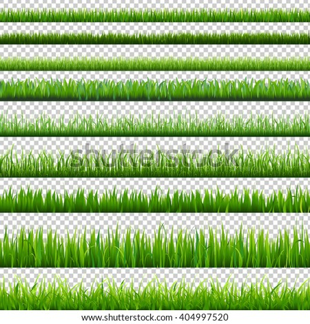 Big Green Borders Set, Isolated on Transparent Background, With Gradient Mesh, Vector Illustration - stock vector