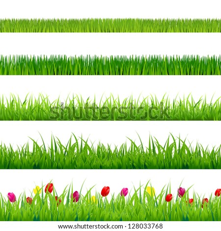 Big Green Grass And Flowers Set With Gradient Mesh, Isolated On Red Background, Vector Illustration - stock vector