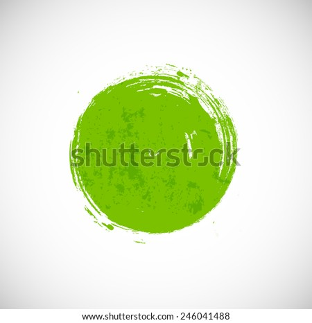 Big green grunge circle on white background. Symbol of ecology. Vector illustration. - stock vector