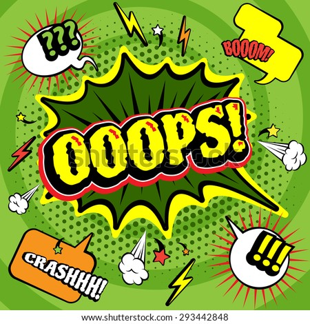 Big green jagged oops bubble comics  poster print with lightening and crash boom exclamations abstract vector illustration - stock vector