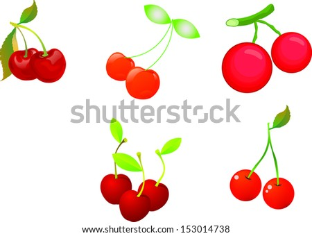 Big group of fresh berries. Vector illustration. - stock vector