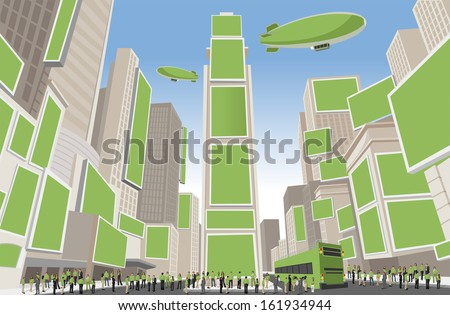 Big group of people wearing green clothes in Times Square, Manhattan, New York City. USA. - stock vector