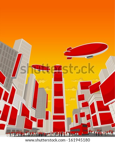 Big group of people wearing red clothes in Times Square, Manhattan, New York City. USA.  - stock vector