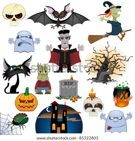 Big Halloween collection isolated on white background - stock vector