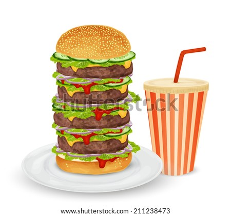 Big hamburger on plate and drink in paper can with straw isolated on white background vector illustration