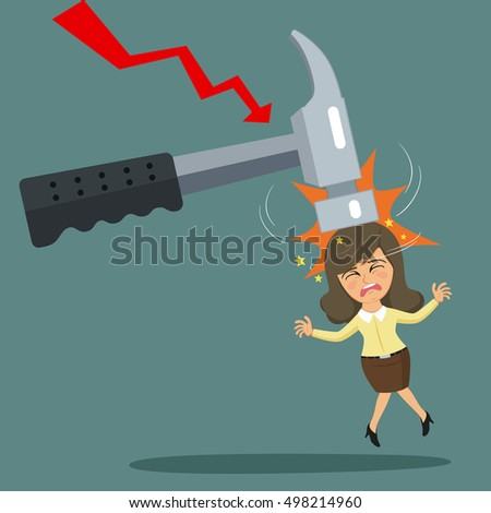 Big hammer being hit businesswoman head, fail concept