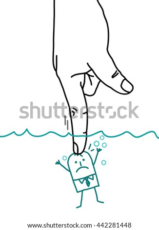 Big hand and  businessman - pushing under water - stock vector