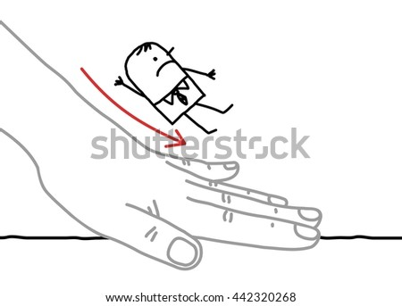 Big hand and  businessman - sliding down - stock vector