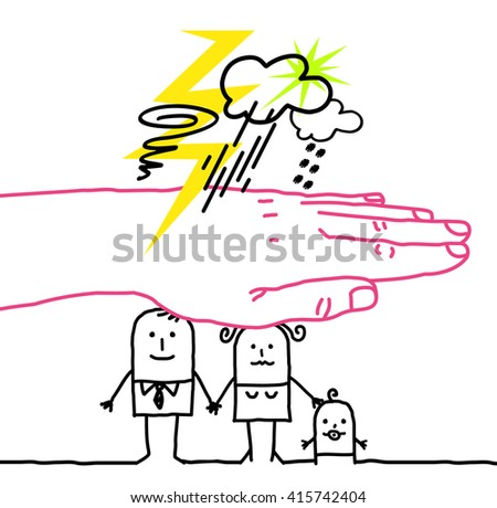big hand and cartoon characters - disaster  - stock vector