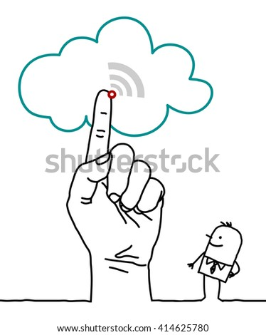 big hand and cartoon characters - the cloud - stock vector