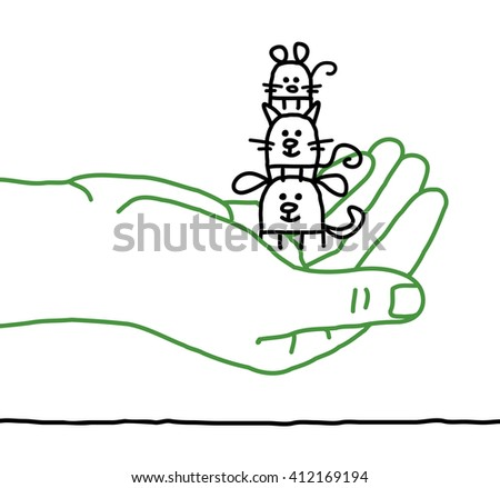 big hand and cartoon pets - protection - stock vector