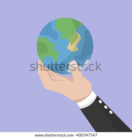 Big hand business man holding earth