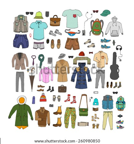 Big hand drawn collection of trendy clothes and accessories for man. Look Book. Isolated.  - stock vector