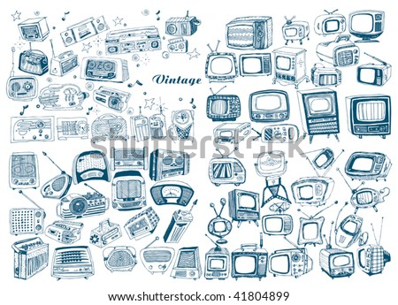 big hand drawn retro technology set - stock vector