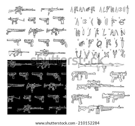 Big hand drawn set of weapons. Heavy weapons. Armor alphabet. Seamless pattern with weapons. Doodle collection in vector. Isolated. - stock vector