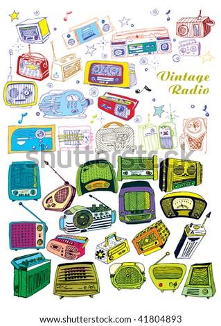 big hand drawn vector radios set - stock vector