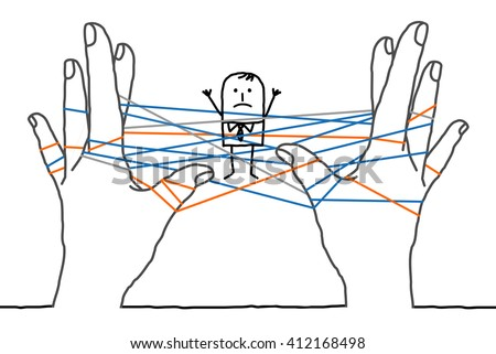 big hands and cartoon businessman - confused network - stock vector