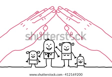 big hands and cartoon family - roof - stock vector