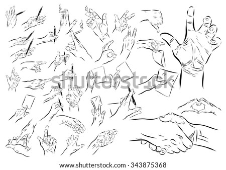 Big hands set on a white background. Vector EPS illustration