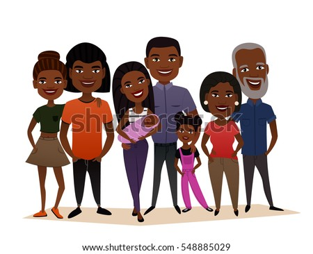 Big Happy Black Family Isolated Vector Illustration