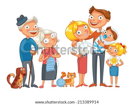 Big happy family consisting of a father, mother, daughter, son, grandparents and two pets, posing together. Funny cartoon character. Vector illustration. Isolated on white background. Set - stock vector