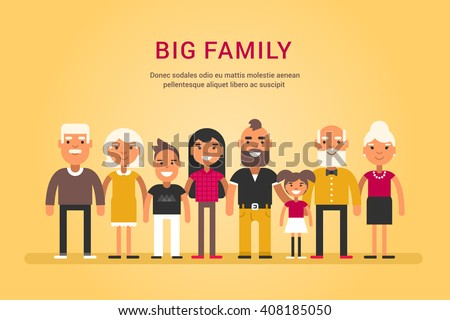 Big Happy Family. Parents with Children. Father, Mother, Children, Grandfather, Grandmother, Siblings, Wife, Husband, Uncle, Aunt - stock vector