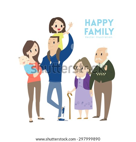 big happy family with parents children and grandparents vector cartoon illustration - stock vector