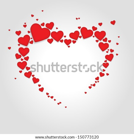 Big heart from little red hearts. - stock vector