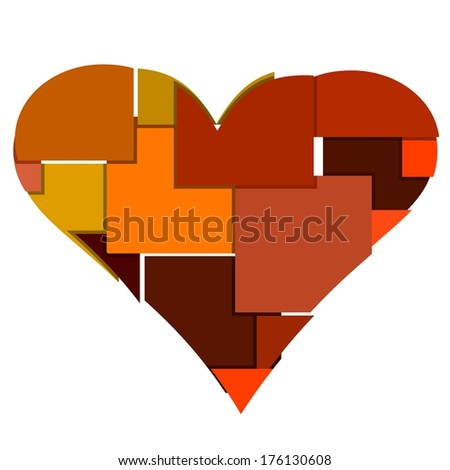big heart made of many squares and rectangles - stock vector