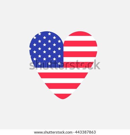 Big heart shape american flag Star and strip icon. Sign symbol. Flat design Vector illustration