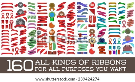 Big Huge Biggest Set of Ribbons and Labels in Vector Retro and Vintage for All Purposes - stock vector