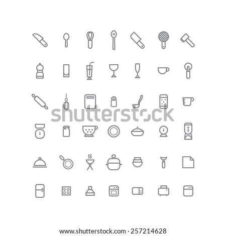 Big icon collection of kitchen elements and utensils. Spoon,rolling pin,whisk,meat chopper,grater,scale,board,bowl,ladle,salt shaker,toaster,dishwasher,timer,tenderizer,jar,glass,strainer,cloth,bbq - stock vector