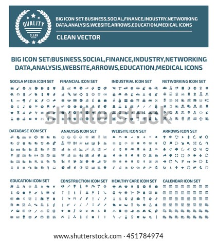 Big iconset,business,social,finance,industry,network,communication, medical,education design,vector - stock vector