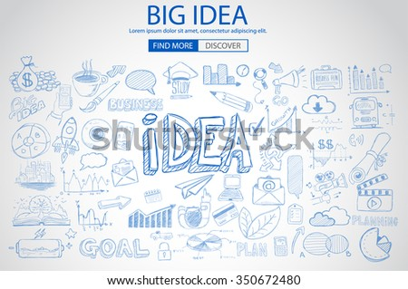 Big Idea  Concept with Doodle design style :finding solution, brainstorming, creative thinking. Modern style illustration for web banners, brochure and flyers. - stock vector