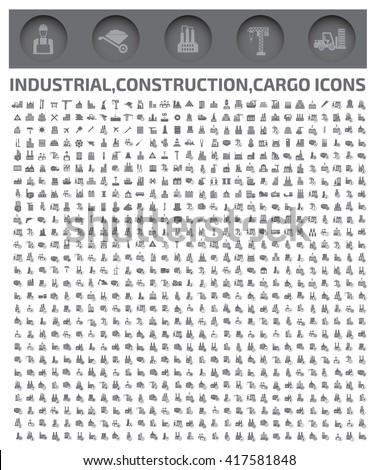 Big industry icons,construction icons,vector - stock vector